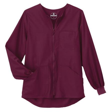Fundamentals by White Swan Unisex Zip Front Warm Up Solid Scrub Jacket