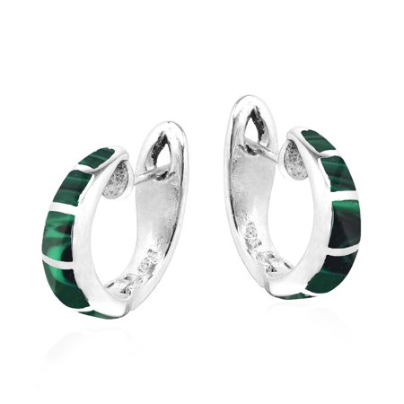 Simple Elegance Malachite Inlay Sterling Silver Hoop Huggie Earrings