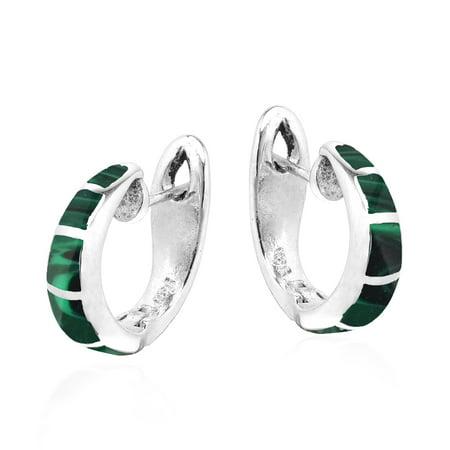 Simple Elegance Malachite Inlay Sterling Silver Hoop Huggie Earrings