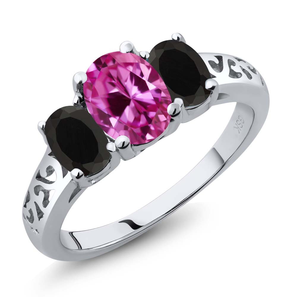 2.43 Ct Oval Pink Created Sapphire Black Onyx 925 Sterling Silver 3-Stone Ring