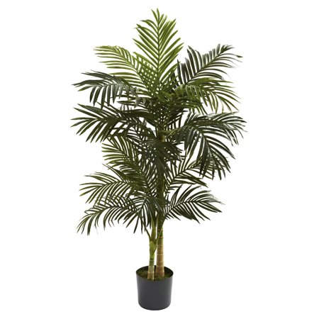 Nearly Natural 5-ft. Artificial Golden Cane Silk Palm Tree, Green](Party Palm Trees)