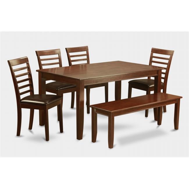 East West Furniture DUML6D-MAH-LC 6 Pc Dudley Dining Tabl...