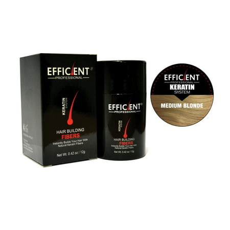 EFFICIENT Keratin Hair Building Fibers, Hair Loss Concealer Net Wt. 12gm / 0.42 oz (Medium Blonde) - Hair Building Fibers