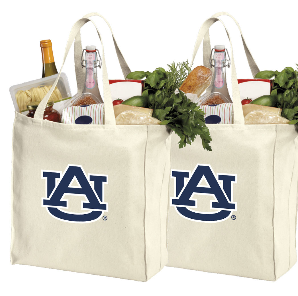 Auburn Shopping Bags or Cotton Auburn Grocery Bags - 2 Pc Set