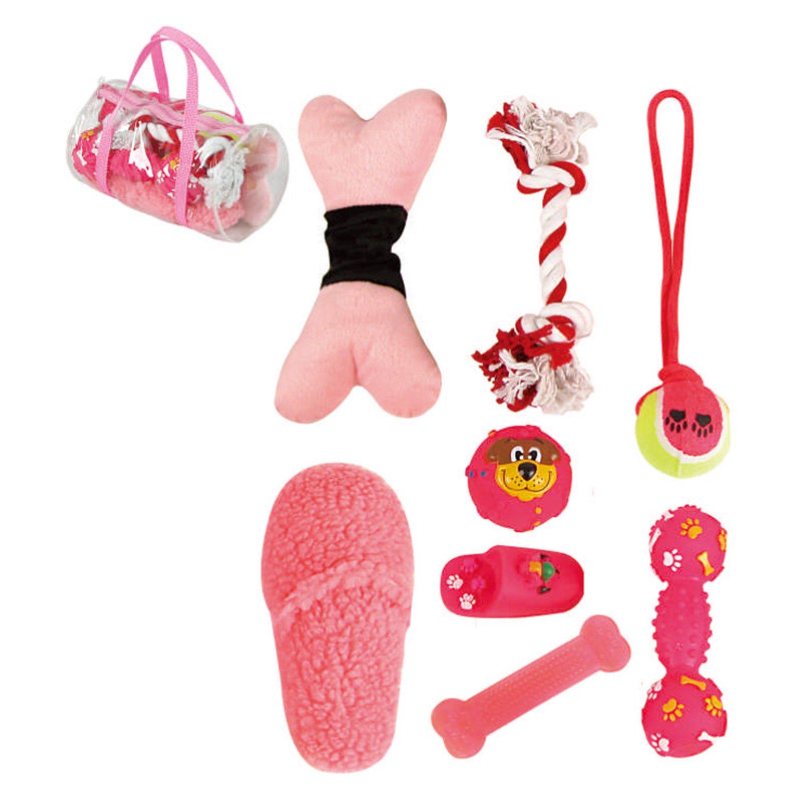 Pet Life 8-Piece Duffle Pet Dog Toy Set - Pink