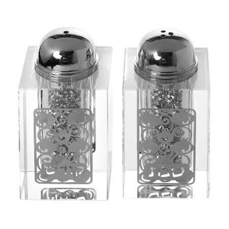 Crystal Salt And Pepper Set (Shonfeld Crystal 15386 3 in. Crystal Salt & Pepper Shaker Set with Broken Glass Style & Silver Design )