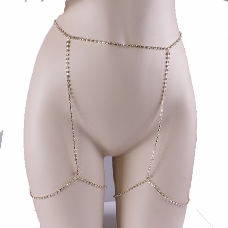 Gprince European Stylish Sparkling Rhinestone Sexy Diamond Thigh Body Chain Waist Leg Chain Body Fashion Jewelry Gold