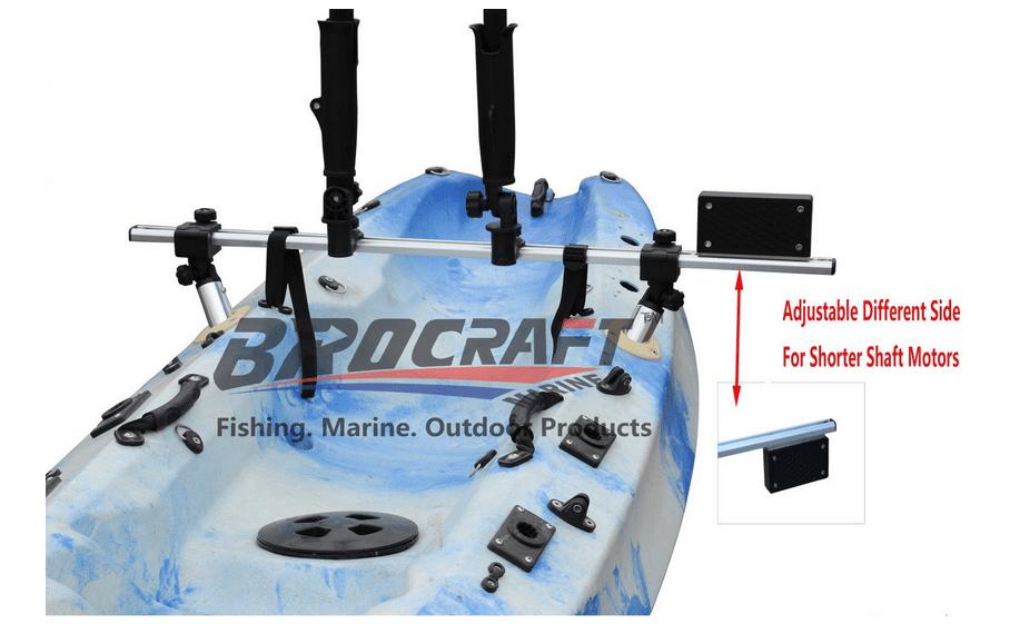 Click here to buy BroCraft Fishing Kayak Trolling Motor Mount Universal + Two Rocket Launching Rod Holder.