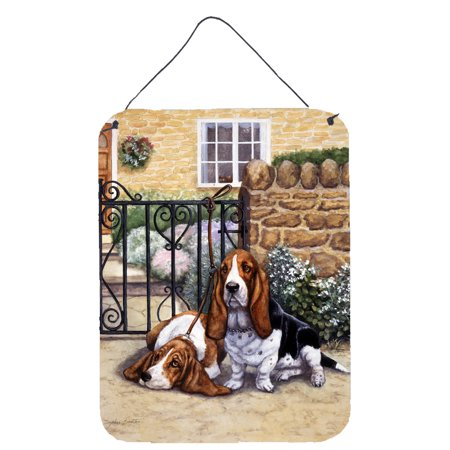 Basset Hound at the gate Wall or Door Hanging Prints