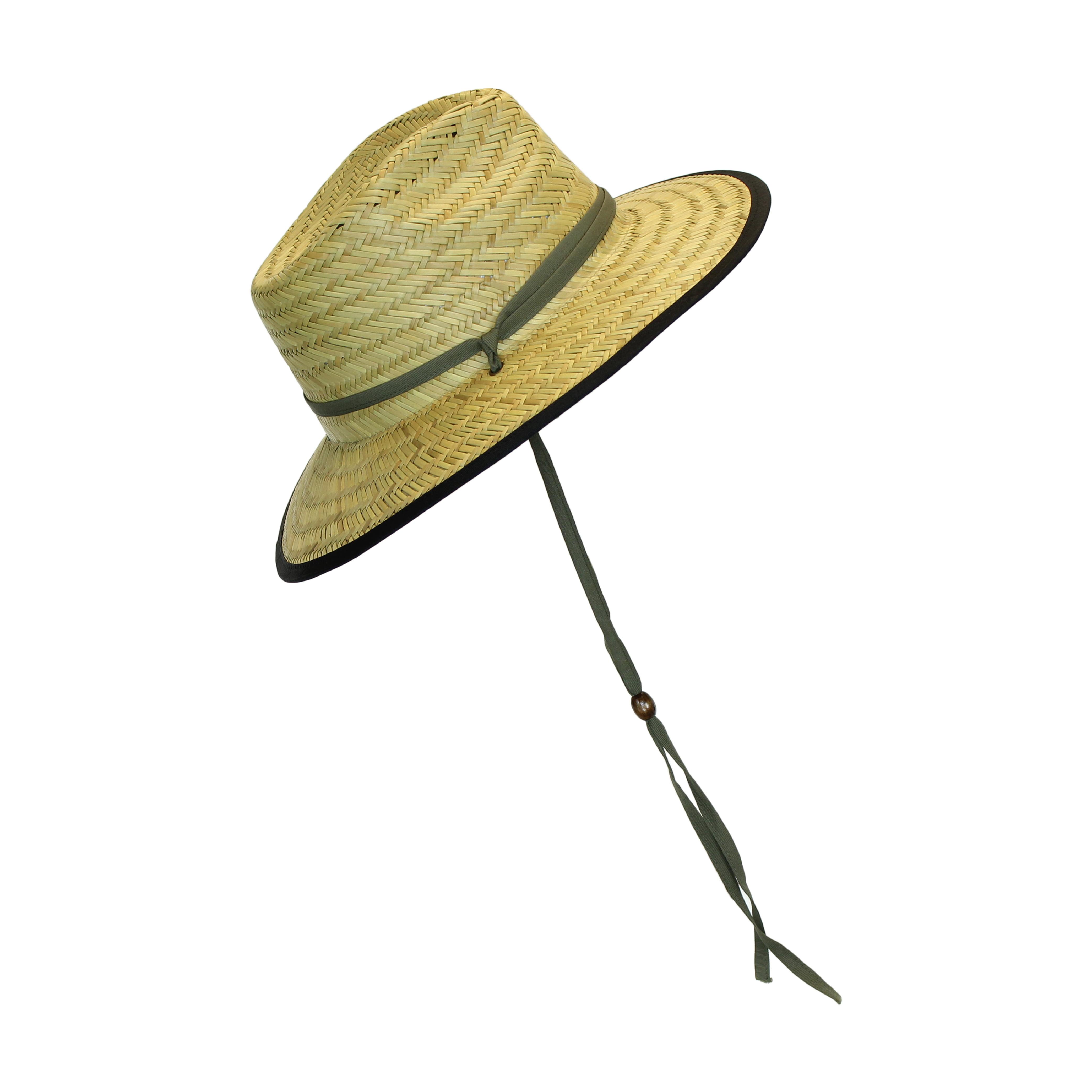 55eb8a8612fd9 Dorfman Pacific Black Trim Wide Brim Natural Straw Lifeguard Outback Sun Hat  w  Chin Strap - Walmart.com