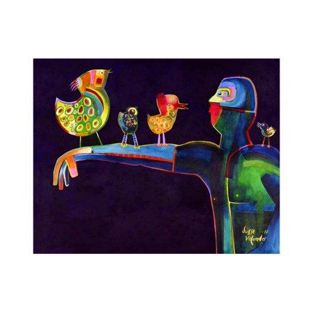 Man Speaking with Birds Print Wall Art By Susse Volander (Süße Sonnenbrille)