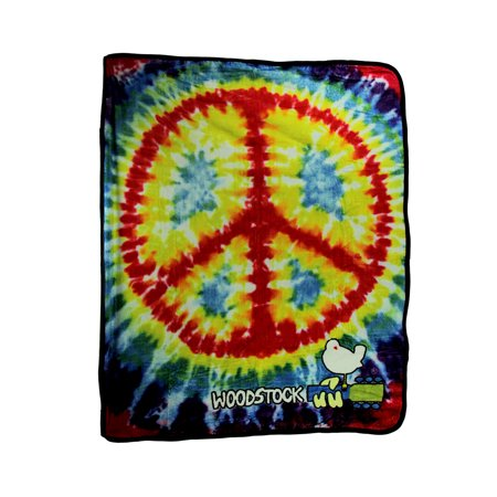 TIe Dye Peace Sign Woodstock Plush Fleece Throw Blanket