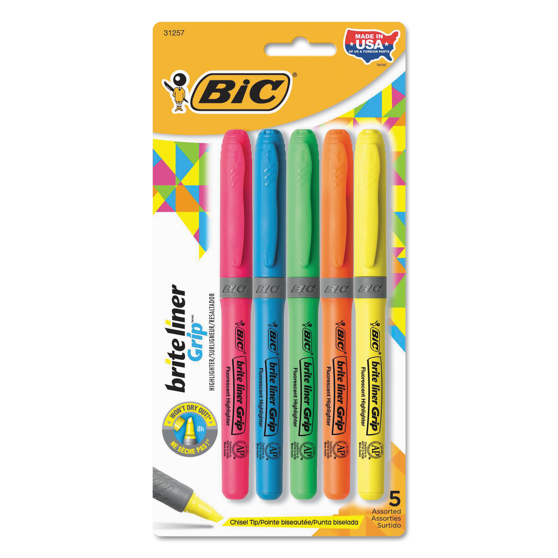 BIC Brite Liner Grip Highlighter, Assorted Fluorescent Colors, Set of 5