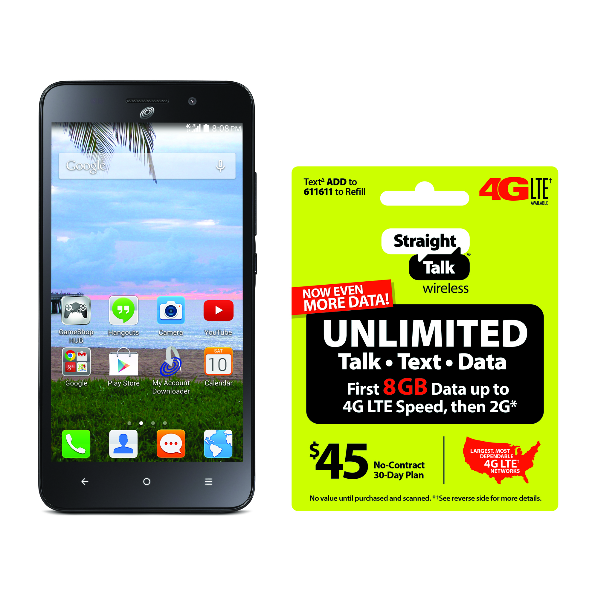 Refurbished Straight Talk Huawei Raven 4G LTE Prepaid Smartphone with BONUS $45/30-Day Plan