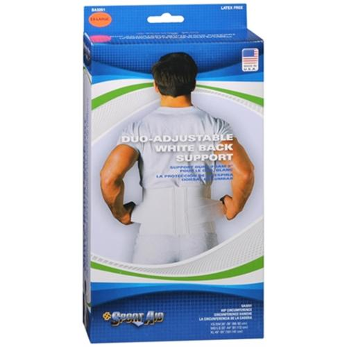 Sport Aid Back Support Duo-Adjustable White XL 1 Each (Pack of 2)