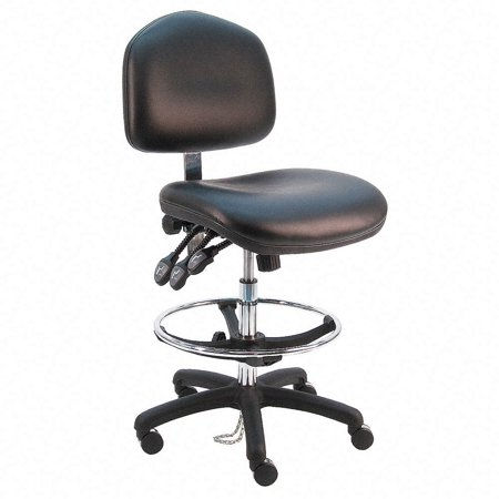 - BenchPro Deluxe HD Vinyl Ergonomic ESD Anti Static Wide Chair with Footring, Adjustable Arm, Black