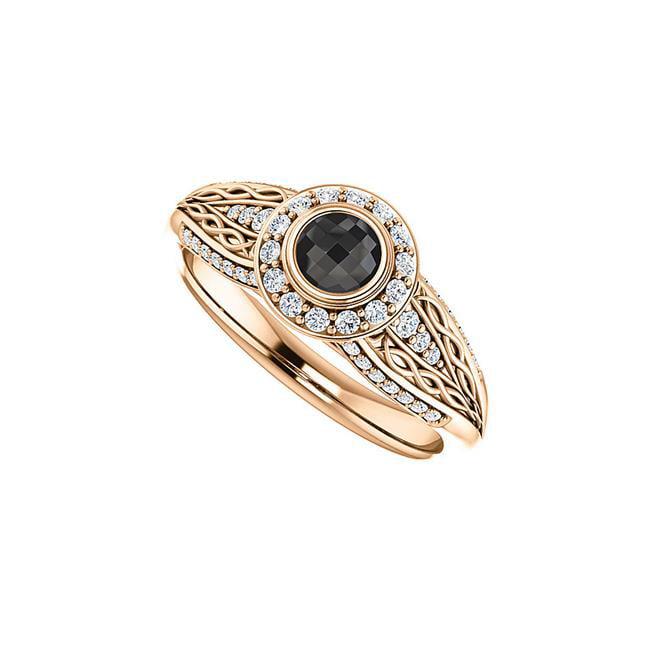 1 CT 14K Rose Gold Rose Gold Leaf Shape Twist Design Black Onyx Cubic Zirconia Ring, Size 6 - image 1 de 1