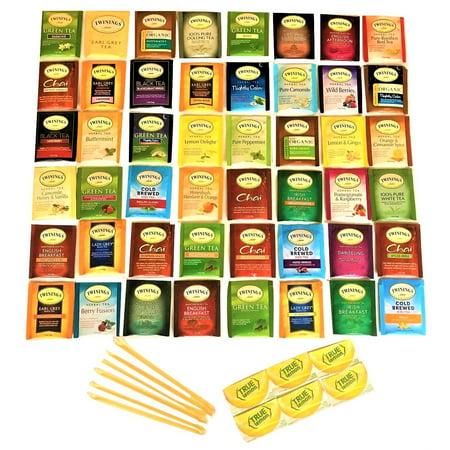 Tea Spree Twinings Tea Sampler: 48 Count Tea Bag Assortment with 6 Honey Sticks and 6 True Lemon Crystallized Lemon Packets ()