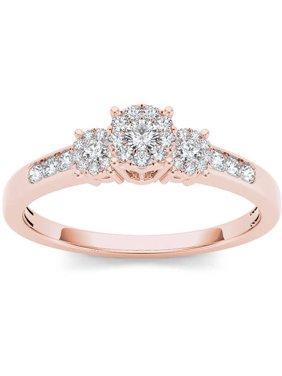 1/3 Carat T.W. Diamond 10kt Rose Gold Trilogy Imperial-Set Engagement Ring