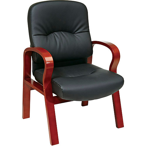 Office Star Leather Guest Chair with Cherry Wood Finish, Black