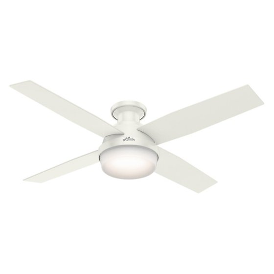 Hunter 52 dempsey low profile with light fresh white ceiling fan hunter 52 dempsey low profile with light fresh white ceiling fan with light with handheld aloadofball Images