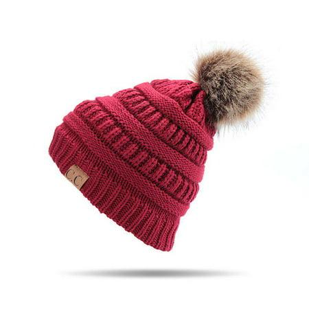 Women's Hats Winter Letter Fur CC Pompom Hat Knitted Beanies Girl Warm Skullies Beanies Female (Letter Knit Hats)