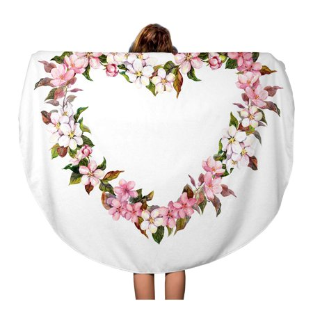 LADDKA 60 inch Round Beach Towel Blanket Floral Wreath Heart Shape Apple Cherry Almond Flowers Watercolor for Valentine Day Travel Circle Circular Towels Mat Tapestry Beach Throw