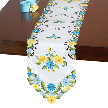 Beautiful Daisy Embroidered Spring Table Linens, Runner](Spring Table Runners)