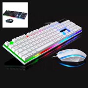 Wired Ergonomic Gaming LED Keyboard and Mouse, Multiple Color Rainbow LED Backlit Mechanical Feeling USB Wired Gaming Keyboard and Mouse Combo for Working or Gaming