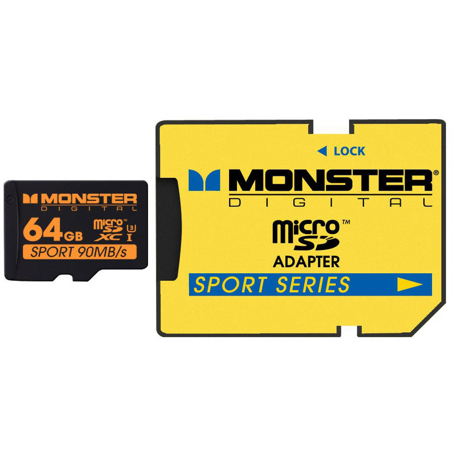 Monster Digital Sport 90 Series Class 10 UHS-3 64GB SDHC/microSD Memory Card