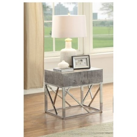 Benzara Faux Marble Square End Table With Metal Geometric Open Base, Gray and - Equipment Filler Table Open Base