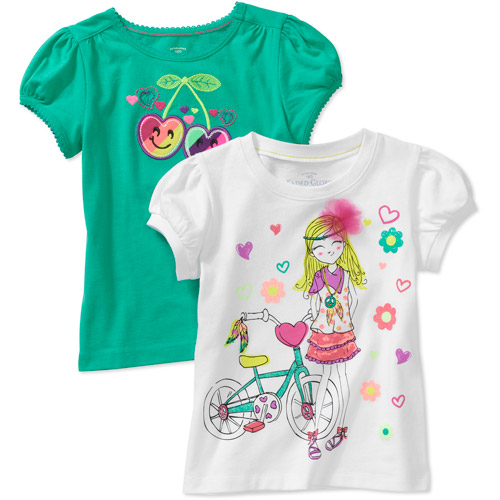 Faded Glory Girls' Graphic and Applique Tees, 2 Pack