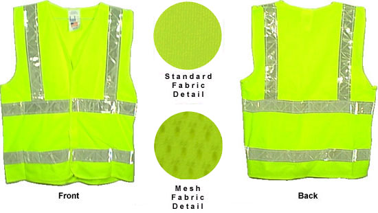 Class Two, ANSI 2004 Double Striped Sleeveless, LIME Safety Vests with Silver stripes -5XL by