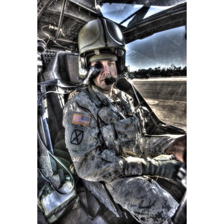 High Dynamic Range Image Of A Pilot Equipped With A Monocle While Sitting In The Cockpit Of An Ah 64D Apache Longbow Attack Helicopter Poster Print