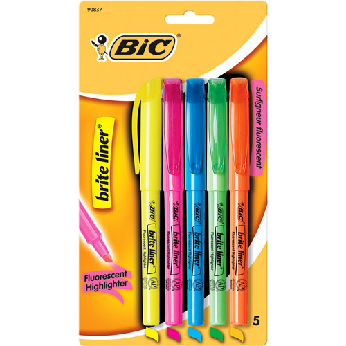 BIC Brite Liner Highlighter, Chisel Tip, Assorted Colors, 5-Pack