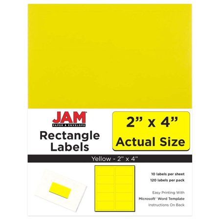 JAM Paper Mailing Address Labels, Medium, 2 x 4, Yellow, 10 Labels per Page/120 Labels Total