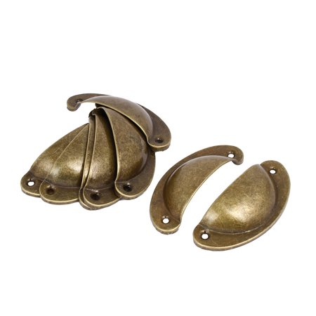 Brass Chest Handle (Unique Bargains Dresser Drawer Metal Pull Handles Brass Tone 67mm Hole Distance 8pcs )