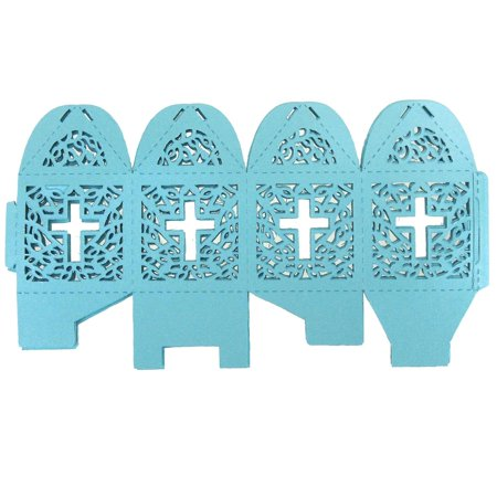 Laser Cut Favor Boxes, Cross, 2-Inch, 12-Piece, Turquoise