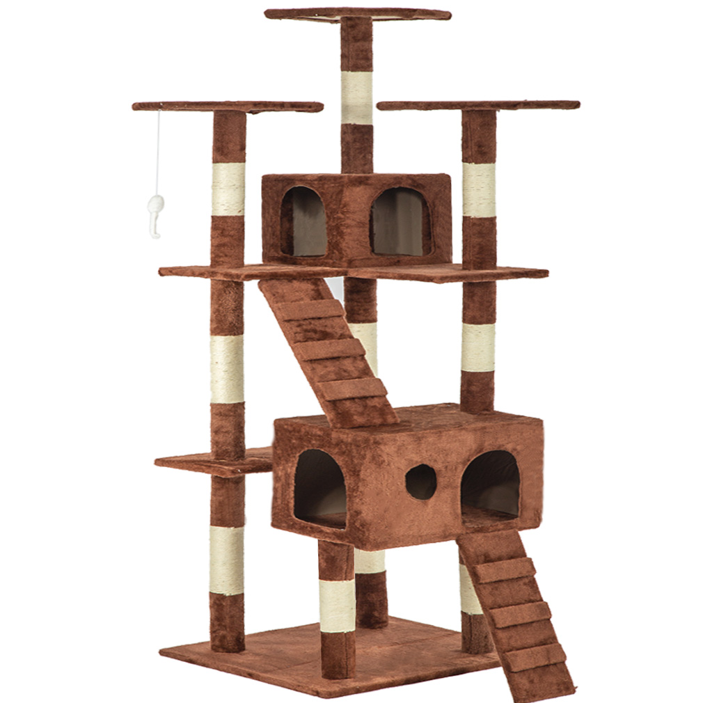 "Brown 73"" Cat Tree Scratcher Play House Condo Furniture Bed Post Pet House"