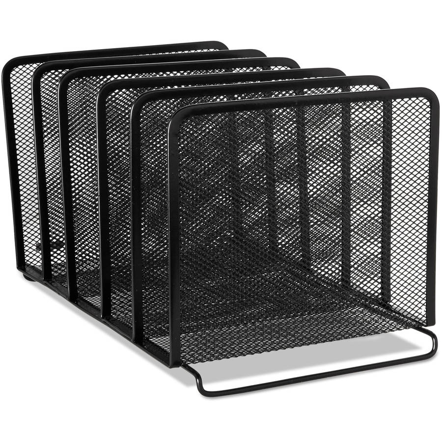 Rolodex Mesh Stacking Sorter, 5 Sections, Black