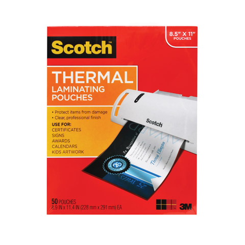 Scotch Thermal Laminating Pouches 50 pack, Letter Size, 9.5in 11.5in., 3mil thickness, 50 Pouches per Pack