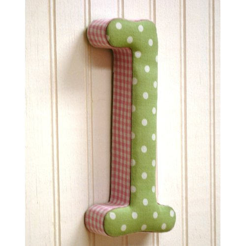 New Arrivals ''l'' Fabric Letter in Pink / Green