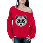 Awkward Styles Panda Skull Off Shoulder Sweatshirt Christian Panda Oversized Sweater for Women Day of the Dead Sweatshirt Dia de los Muertos Gifts for Her Paisley Panda Skull Outfit Religious Gifts