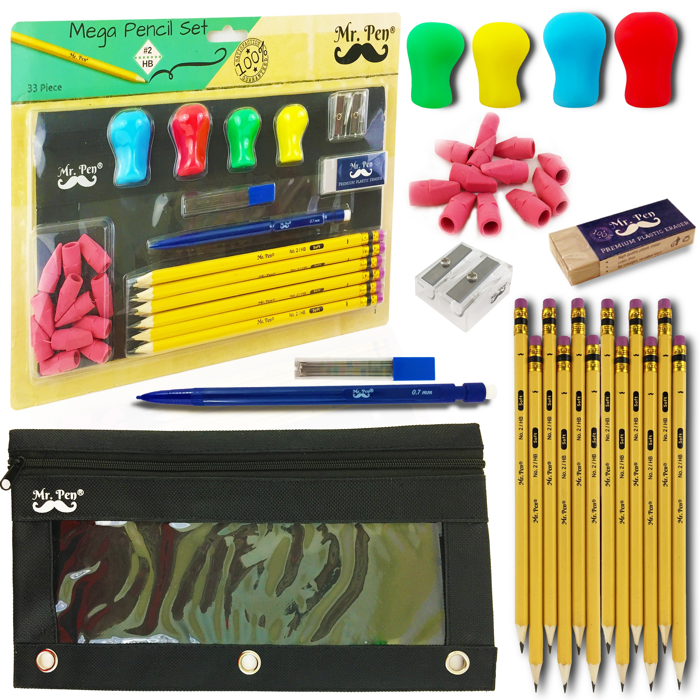 Mr. Pen- Complete Pencil Pack, 12 Pencils (#2 HB), 4 Silicone Pencil Grips, Pencil Case with Binder Holes, 12 Pencil Cap Erasers, Mechanical Pencil (0.7mm), Lead Refill, 1 Eraser, 1 Pencil Sharpener