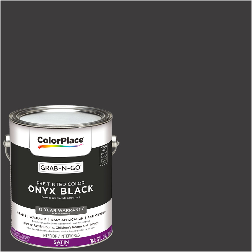ColorPlace Pre Mixed Ready To Use, Interior Paint, Onyx Black, Semi-Gloss Finish, 1 Gallon
