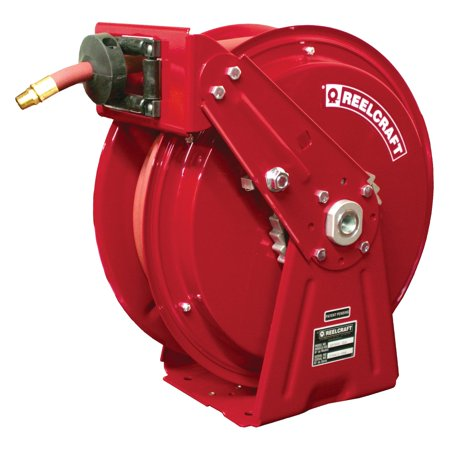 Reelcraft Compact Dual Pedestal Oil 1 2 In  Hose Reel   50 Ft