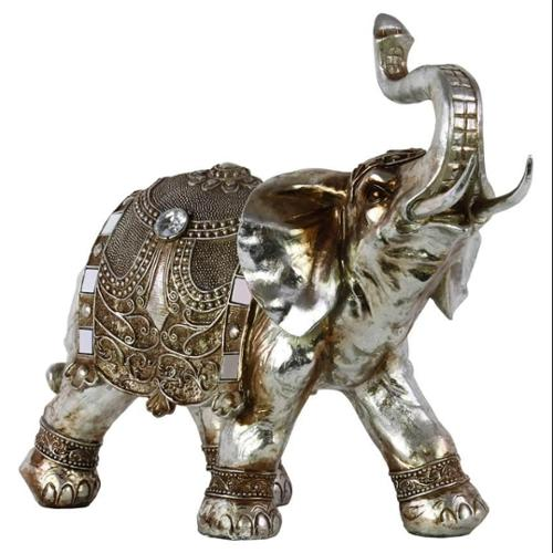Standing Trumpeting Ceremonial Elephant Figurine