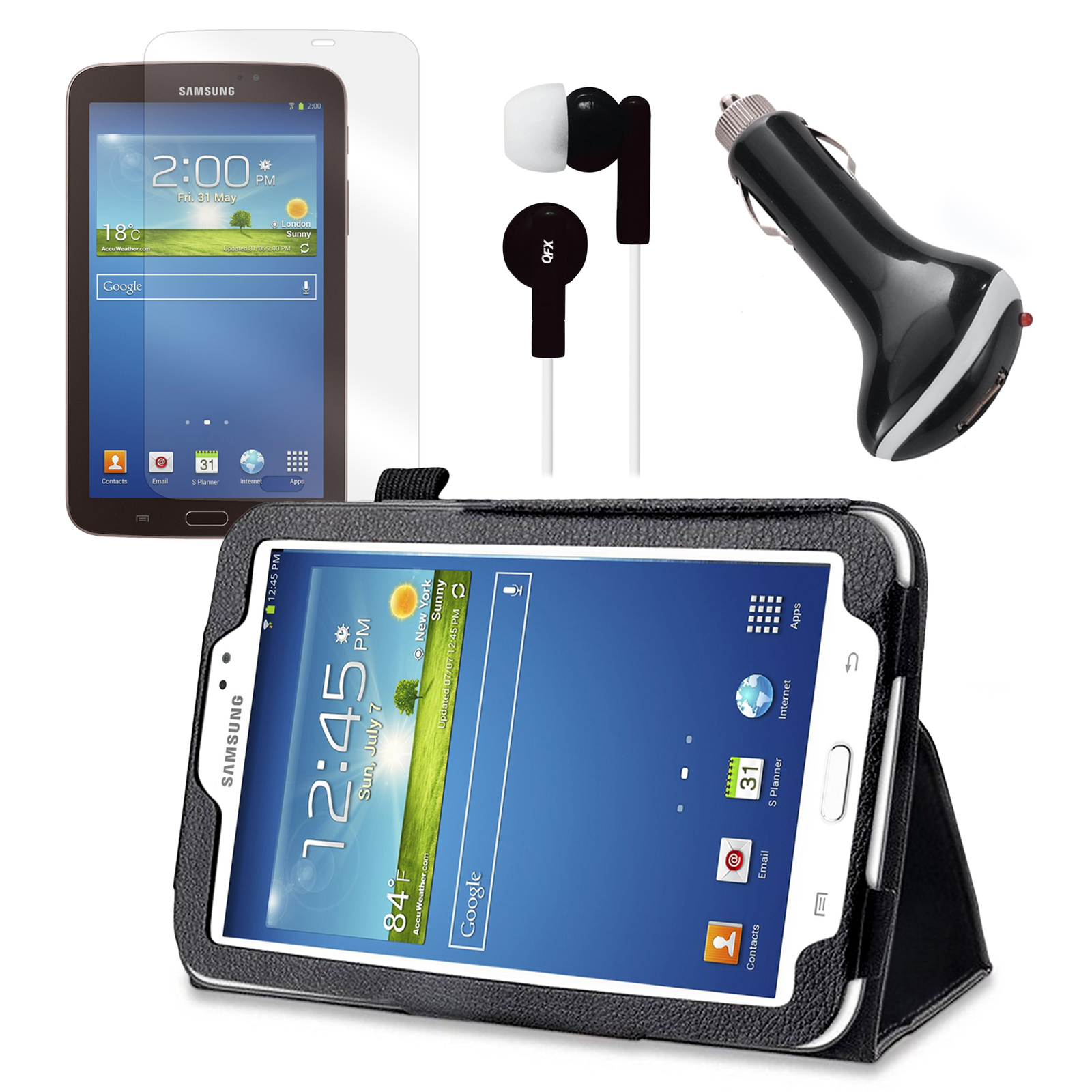 "Black Folio Case with Earphones, Screen Protector, and Car Charger for Samsung Galaxy Tab 3 7"" Tablet"