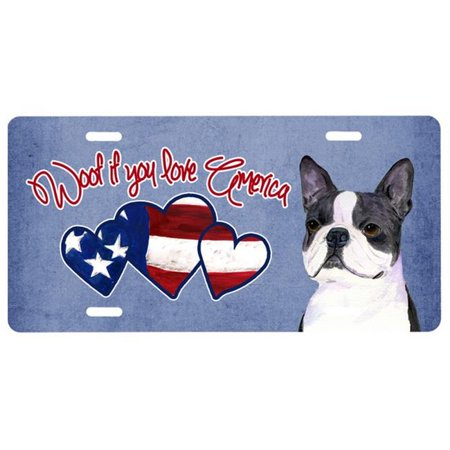 Woof if you love America Boston Terrier License Plate SS5027LP Boston Terrier License Plate