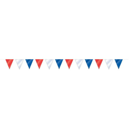 Plastic Patriotic Flag Banner, 32 ft, Red White and Blue, 1ct